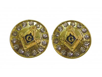 Masonic Square and Compass with G Freemasons Cufflinks - Black and Gold with Rhinestones