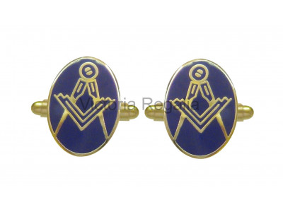 Masonic Square and Compass Freemasons Oval Cufflinks - Blue and Gold
