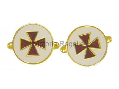 Masonic Knights Templar Round Freemasons Cufflinks EC