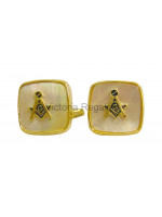 Masonic Mother of Pearl Square and Compass Freemasons Cufflinks