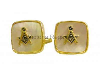 Masonic Mother of Pearl Square & Compass Cuff Links