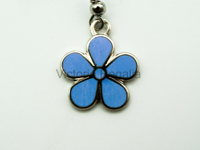 Masonic Forget-Me-Not Silver Drop Earrings