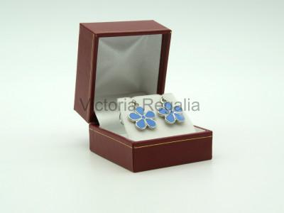 Masonic Forget-Me-Not Silver Drop Earrings
