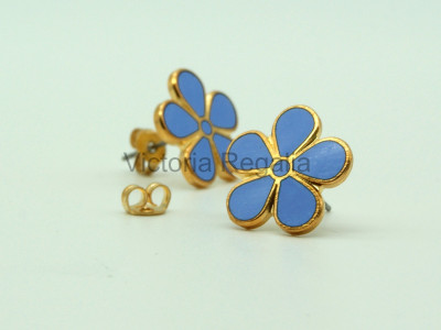 Masonic Forget-Me-Not Gold Coloured Stud Earrings