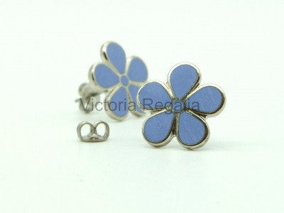 Masonic Forget-Me-Not Silver Stud Earrings