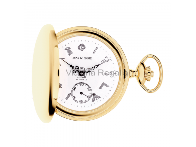 Free Masons Masonic Pocket watch with Masonic Symbols - Masonic Gold Plated Quartz Hunter Pocket Watch