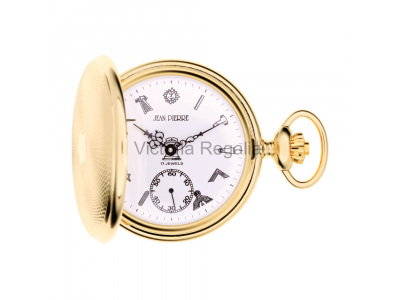 Free Masons Masonic Pocket watch with Tools on the Dial - Masonic Gold Plated Mechanical Hunter Pocket Watch