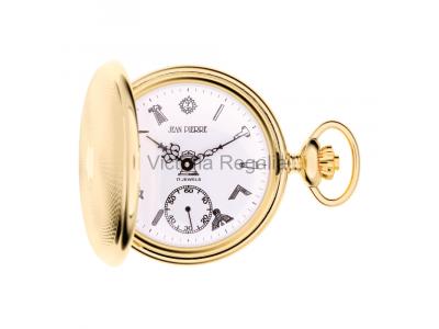 Free Masons Masonic Pocket watch with Tools on the Dial - Masonic Gold Plated Mechanical Hunter Pocket Watch