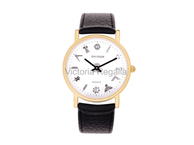 Freemasons Masonic wristwatch with masonic tools on the dial - White face - Gents Masonic Gold Plated White Face Quartz Watch