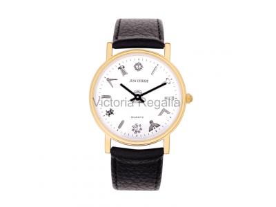 Freemasons Masonic wristwatch with masonic tools on the dial - White face - Gents Masonic Gold Plated White Face Quartz Watch