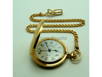 Freemasons Masonic Pocket watch with Tools on the Dial - Masonic Engine Turned Gold Plated Quartz Full Hunter Pocket Watch