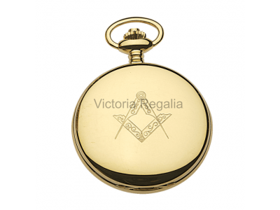 Free Masons Masonic Square and Compass Pocket watch with Tools on the Dial - Masonic Gold Plated Quartz Hunter Pocket Watch
