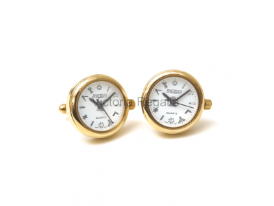 Freemasons Masonic Cufflinks Watch with Masonic Tools on the Dial - White face - Gents Masonic Gold Plated White Face Quartz Watch