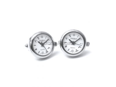 Freemasons Masonic Cufflinks Watch with Masonic Tools on the Dial - White face - Gents Masonic Chrome Plated White Face Quartz Watch