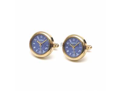 Freemasons Masonic Cufflinks Watch with Masonic Tools on the Dial - Blue face - Gents Masonic Gold Plated Blue Face Quartz Watch