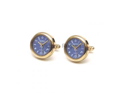 Freemasons Masonic Cufflinks Watch with Masonic Tools on the Dial - Blue face - Gents Masonic Gold Plated Blue Face Quartz Watch