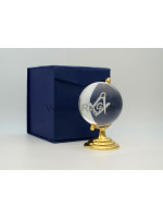 Freemasons Paperweight Glass Globe with 3D Engraved Square, Compasses and G