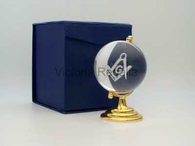 Freemasons Paperweight Glass Globe with Engraved Square, Compasses and G