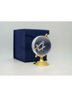 Freemasons Paperweight Glass Globe with 3D Engraved Square and Compasses