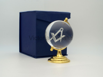 Freemasons Paperweight Glass Globe with Engraved Square and Compasses