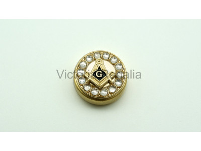 Freemasons Gold Cuff Button Cover with Masonic Square, Compass and G (Pair)