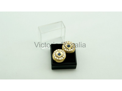 Freemasons Gold Cuff Button Cover with Masonic Square and Compass (Pair)