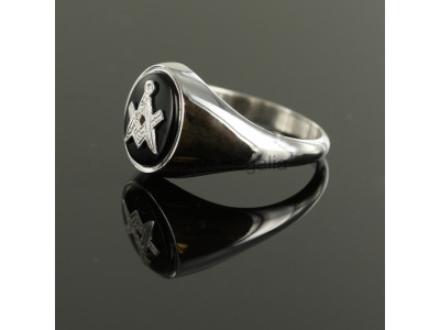 Masonic Silver and Onyx Square and Compass Ring with Oval Head