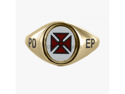 Masonic 9ct Gold Scottish Knights Templar Ring with Fixed Head, and PD EP engraving