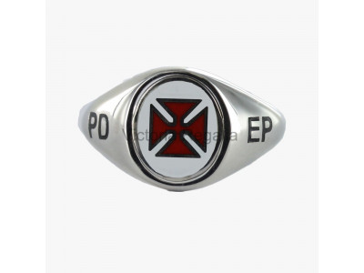 Masonic Solid Silver Knights Templar Ring with Fixed Head, and PD EP engraving
