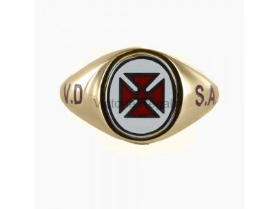Masonic 9ct Gold English - Irish Knights Templar Ring with Fixed Head, and VD SA engraving