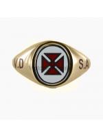 Masonic 9ct Gold Knights Templar Ring with Reversible Head, and VD SA engraving