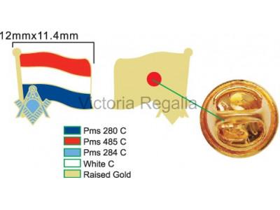 Freemasons Netherlands Masonic Flag Lapel Pin