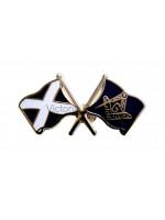 Scottish Saltire Crossed Flags Masonic Freemasons Lapel Pin