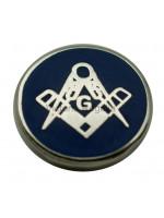 Round Silver Square, Compass & G Masonic Freemasons Lapel Pin