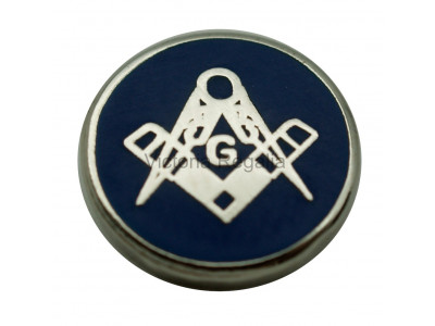 Round Silver Square, Compass & G Masonic Freemasons Lapel Pin