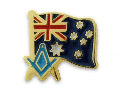 Freemasons Australia Flag and Masonic Square and Compasses Lapel Pin