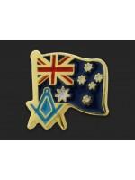 Freemasons Australia Flag and Masonic Square and Compasses Lapel Pin