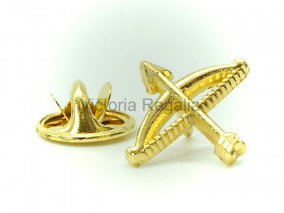 Masonic Bow and Arrow Golden Lapel Pin