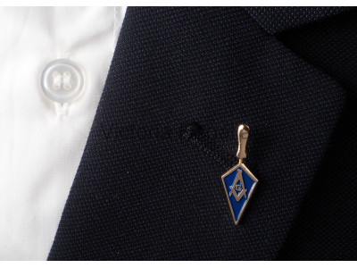 Trowel with Masonic Square, Compass and G Freemasons Lapel Pin