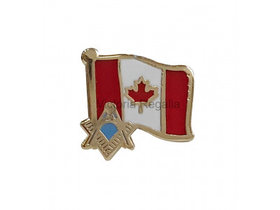 Freemasons Canada Flag with Masonic S&C Lapel Pin
