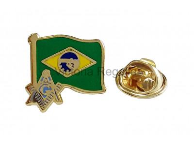 Freemasons Brazil Masonic Flag Lapel Pin