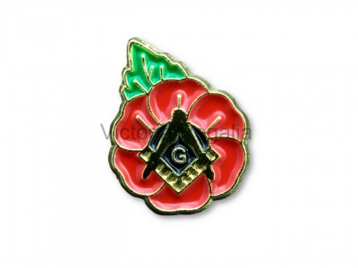 Poppy with Square, Compass and 'G' Lapel Pin