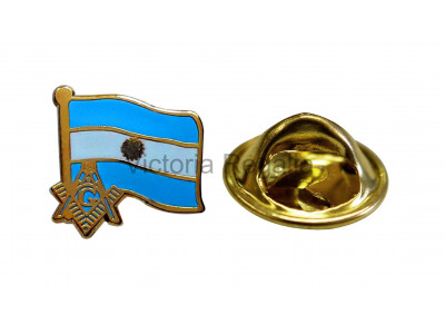 Freemasons Argentina Masonic Flag Lapel Pin