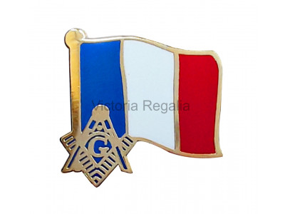 Freemasons French Masonic Flag Lapel Pin