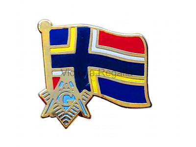 Freemasons Nordic Masonic Flag Lapel Pin