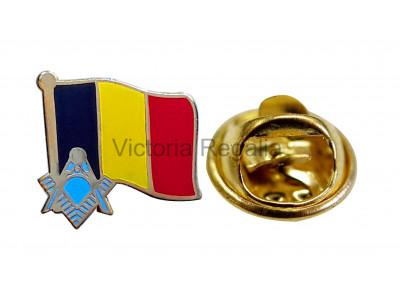 Freemasons Belgium Masonic Flag Lapel Pin