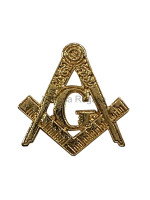 Freemasons Gold Coloured Square and Compass with G - Masonic Lapel Pin