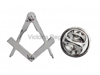 Freemasons Silver Coloured Square & Compass Masonic Lapel Pin