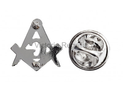Freemasons Silver Coloured Square and Compass with G - Masonic Lapel Pin