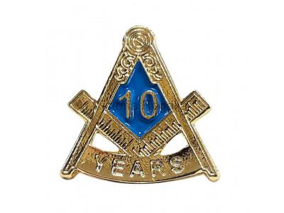 Freemasons Masonic 10 YEAR Lapel Pin